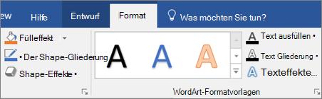 Klicken Sie auf der Registerkarte ' Format '