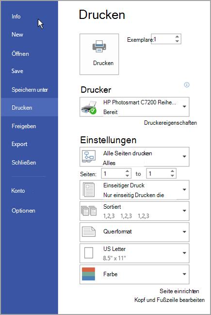 Registerkarte 'Datei'