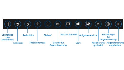 Der Launchpad für die Augensteuerungstastatur enthält Schaltflächen, mit denen Sie das Launchpad positionieren können, aktivieren im linken Bereich und klicken Sie mit der rechten Maustaste auf Schaltflächen auf einer Maus, die Rechtsklick- und eine Linksklick-Taste auf der Maus aktivieren können, präzise Maus- und Scrollsteuerelemente verwenden können, die Augensteuerungstastatur, Text-zu-Sprache, das Windows-Startmenü und Aktive Anwendungen öffnen können. Sie können ebenfalls Eyetracker kalibrieren die, die Augensteuerungseinstellungen öffnen, und die Augensteuerung anhalten können, damit das Launchpad ausgeblendet wird.