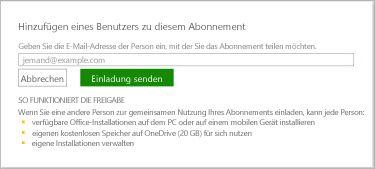 """Screenshot des Dialogfelds """"Diesen Benutzer zu diesem Abonnement hinzufügen"""""""