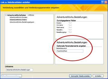 Webdienst-Datenverbindungsparameter