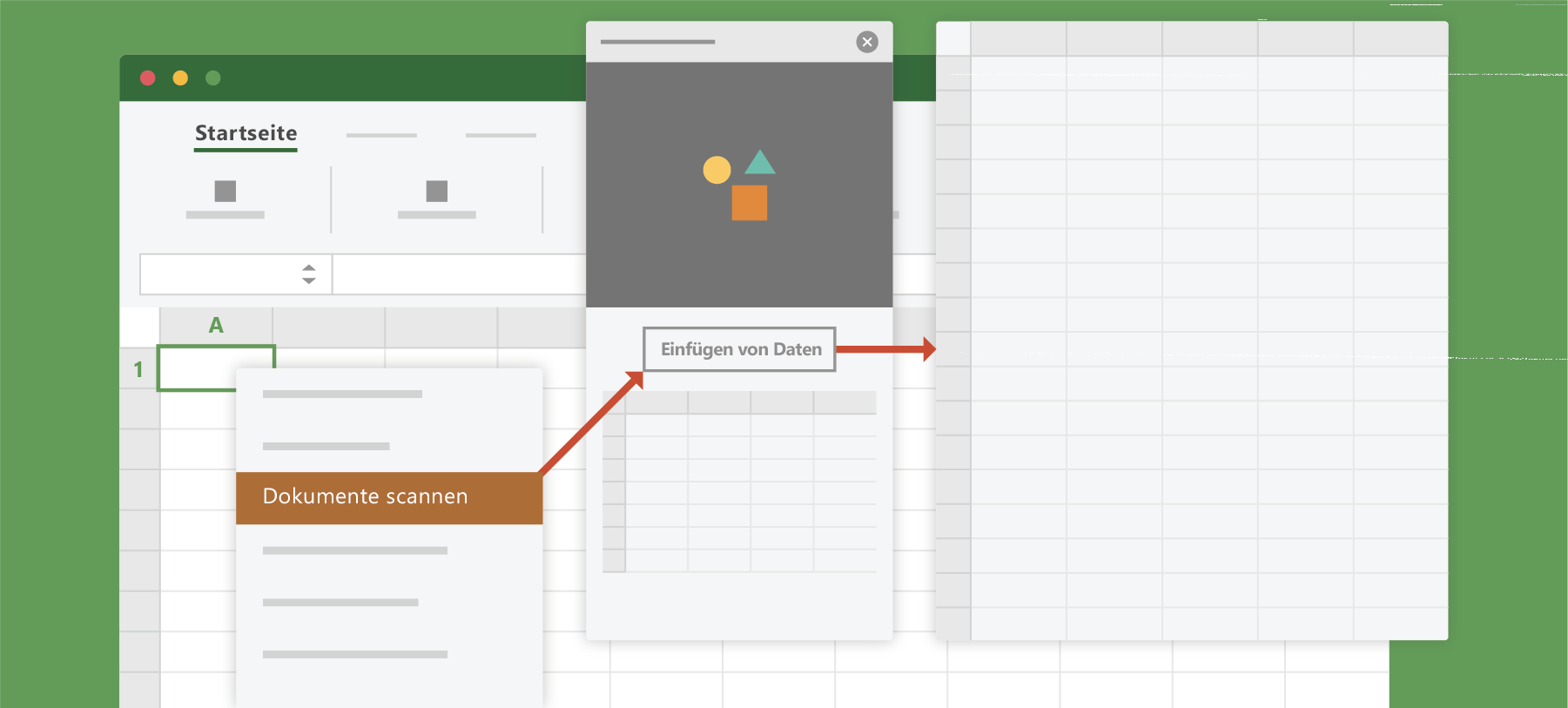 "Zeigt die Option ""Dokument scannen"" in Excel"