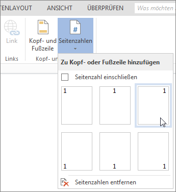 Katalog 'Seitenzahlen' in Word Online