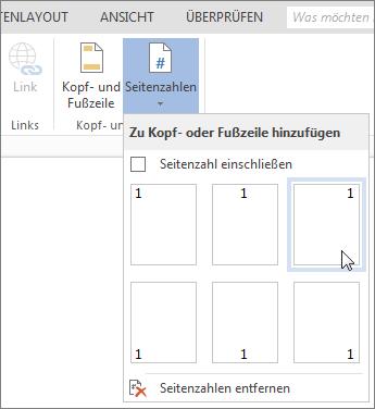 """Katalog """"Seitenzahlen"""" in Word Online"""