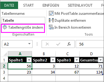 Ändern der Größe einer Tabelle durch Hinzufügen oder Entfernen von ...