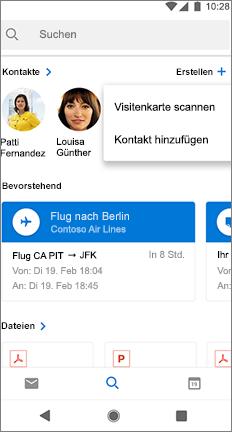 """Suchbildschirm mit der Option """"Visitenkarte überprüfen"""" neben dem Namen eines Kontakts"""
