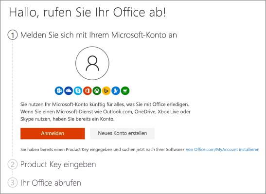 """Zeigt die erste Seite für """"setup.office.com"""" an."""