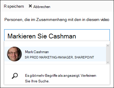 Office 365 Video zuordnen Personen