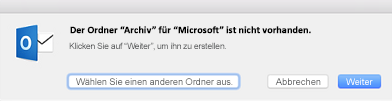 """Diese Meldung wird angezeigt, wenn Sie zum ersten Mal auf die Schaltfläche """"Archivieren"""" in Outlook 2016 für Mac klicken."""