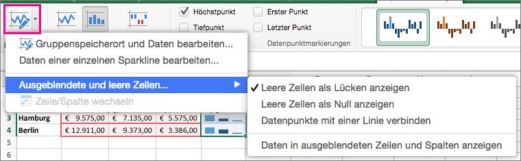 """Auf der Registerkarte """"Sparkline-Design"""" die Option """"Daten bearbeiten"""" auswählen"""