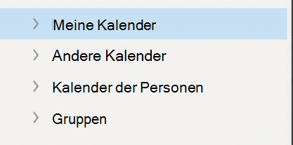 Linke Kalendernavigation