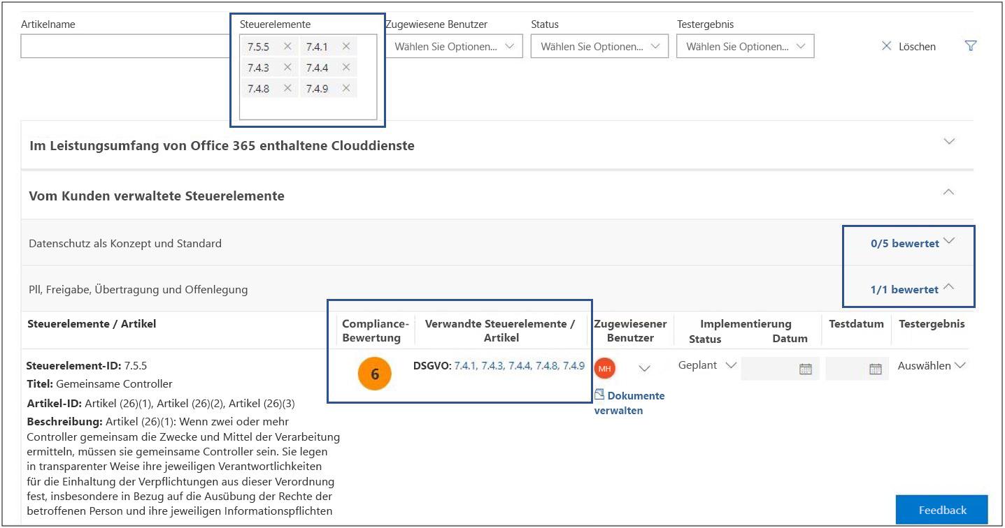 Compliance-Manager – Bewertungsansicht – Filtersteuerelemente, nicht bewertet