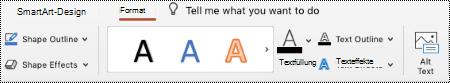 """Schaltfläche """"Alternativ Text"""" im Menüband für eine SmartArt in PowertPoint für Mac."""