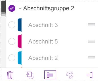 Umbenennen einer Abschnittsgruppe in OneNote für iOS