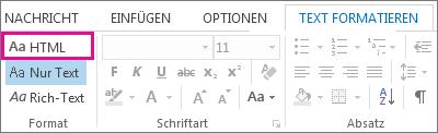 HTML-Formatoption auf der Registerkarte 'Text formatieren' in einer Nachricht