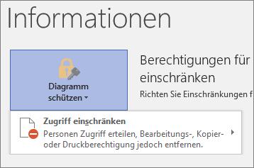 """Schaltfläche """"Diagramm schützen"""", Befehl """"Zugriff einschränken"""""""
