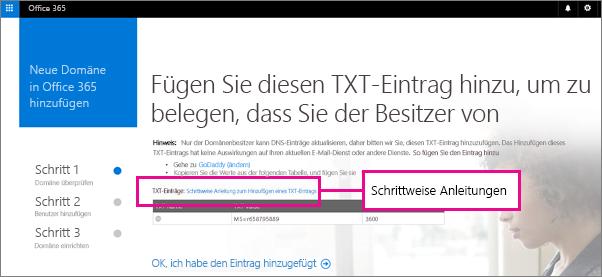 Klicken Sie auf den Link, um eine schrittweise Anleitung zum Hinzufügen eines TXT-Eintrags bei Ihrem DNS-host