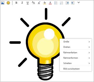 Klicken Sie mit der rechten Maustaste auf das Bild in Ihrer Nachricht, um das Menü mit den Formatierungsoptionen anzuzeigen.