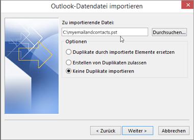 Geben Sie in diesem Dialogfeld den Namen und den Speicherort Ihrer PST-Datei ein.