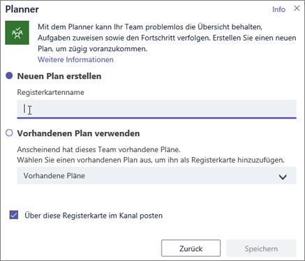 "Screenshot des Dialogfelds ""Planner-Registerkarte"" in Teams"