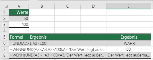 Beispiele für die Verwendung der WENN-Funktion mit der UND-Funktion
