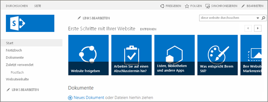 Screenshot der SharePoint 2013-Teamwebsite