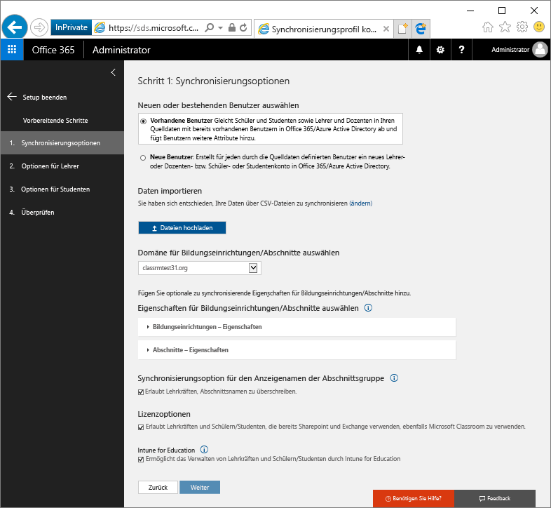 """Screenshot der Seite """"Synchronisierungsoptionen"""""""