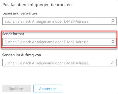Screenshot: Zulassen, dass ein anderer Benutzer E-Mails als dieser Benutzer sendet