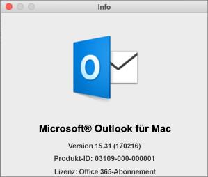 """Wenn Sie über Outlook im Rahmen von Office 365 verfügen, enthält """"Info"""" Folgendes: Office 365-Abonnement."""