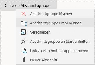 Umbenennen von Abschnittsgruppen in der OneNote für Windows 10-App