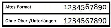 Beispiele für die Zahlenformatvorlagen 'Old-Fomatvorlage' und 'Lineatur'
