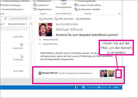 Outlook Connector für soziale Netzwerke ist standardmäßig minimiert