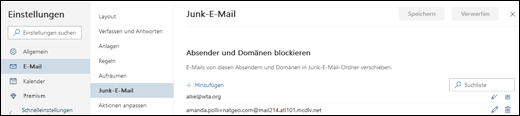 """Ein Screenshot zeigt den Bereich """"sichere Absender"""" der Junk-Email-Einstellungen in den Einstellungen für Outlook.com an."""