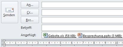Anlagen, die unter dem Feld 'Betreff' in einer Nachricht im HTML-Format angezeigt werden