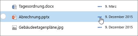 In der DokumentBibliothek hervorgehobener Dateiname