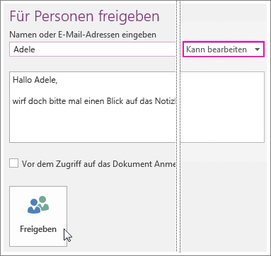 Screenshot of Sharing UI in OneNote 2016.