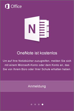 Anmeldebildschirm der OneNote-App