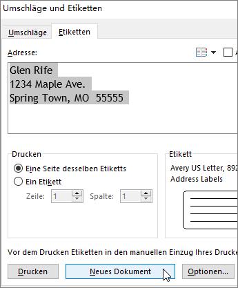 """Aktualisieren Sie den Inhalt des Adressfeldes im Dialogfeld """"Umschläge und Etiketten"""", und wählen Sie dann """"neues Dokument"""" aus."""