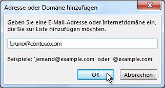 Dialogfeld 'Adresse oder Domäne hinzufügen'