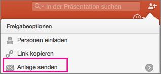 """PowerPoint für Mac, """"Anlage senden"""""""