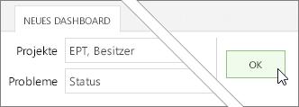 """Schaltfläche """"OK"""" auf der Registerkarte """"Neues Dashboard"""""""