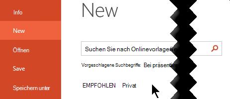 """Wählen Sie unter """"Datei"""" > """"neu"""" die Option """"persönlich"""" aus, um Ihre persönlichen Vorlagen anzuzeigen."""