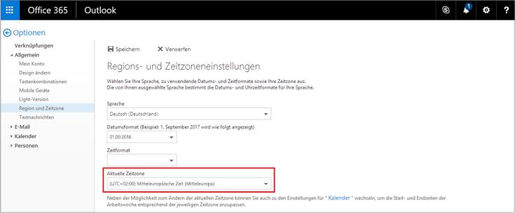 """Aktuelle Zeitzoneneinstellung auf der Seite """"Region und Zeitzone"""""""