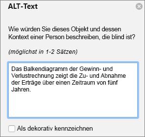 Excel-365 schreiben Alternativtext Dialogfeld für pivotcharts