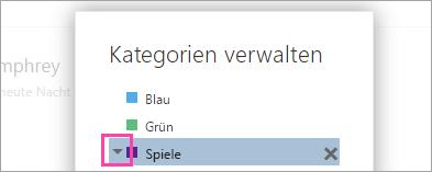 Ein Screenshot des Pfeils neben einer Kategorie
