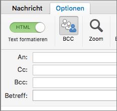 """Zum Aktivieren des Felds """"Bcc"""" öffnen Sie eine neue Nachricht, wählen die Registerkarte """"Optionen"""" aus und klicken dann auf die Option """"Bcc""""."""