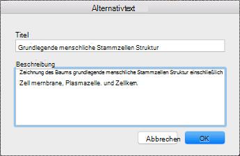 """Dialogfeld """"Alternativtext"""" für OneNote auf dem Mac."""