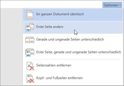 """Abbildung des Menüs """"Optionen"""" für """"Kopf- und Fußzeile"""" in Word Online"""