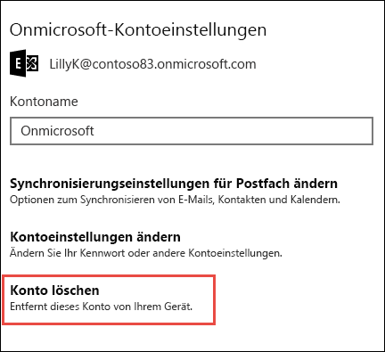 """""""Konto löschen"""" in der Mail-App"""