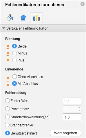 """Zeigt den Bereich """"Fehlerindikatoren formatieren"""" mit der Option """"Benutzerdefiniert"""" für Fehlerbetrag."""